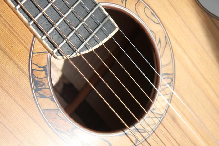 spalted beech, rosette, montgomery guitars