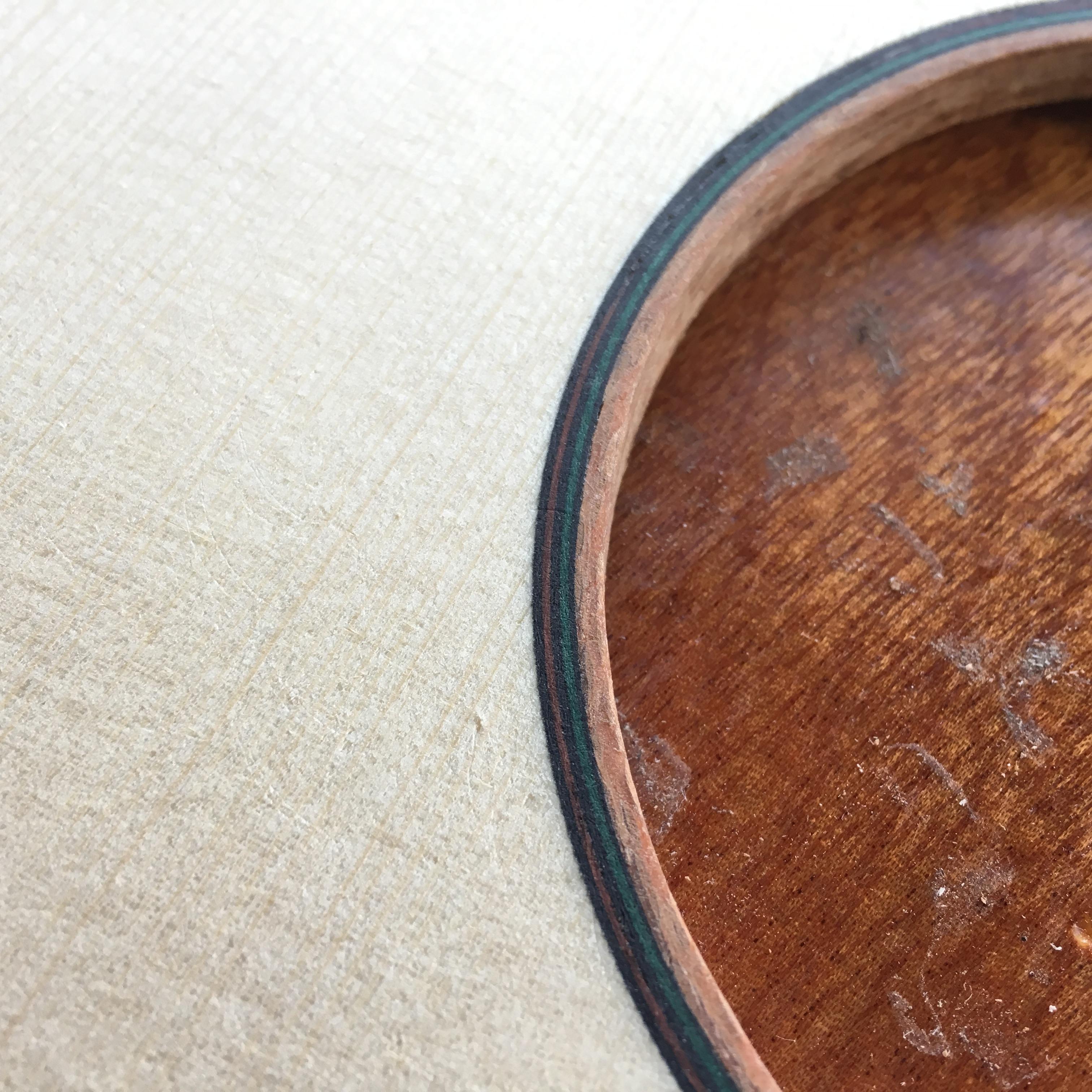 rosette inlay, binding, sounhole, montgomery guitar