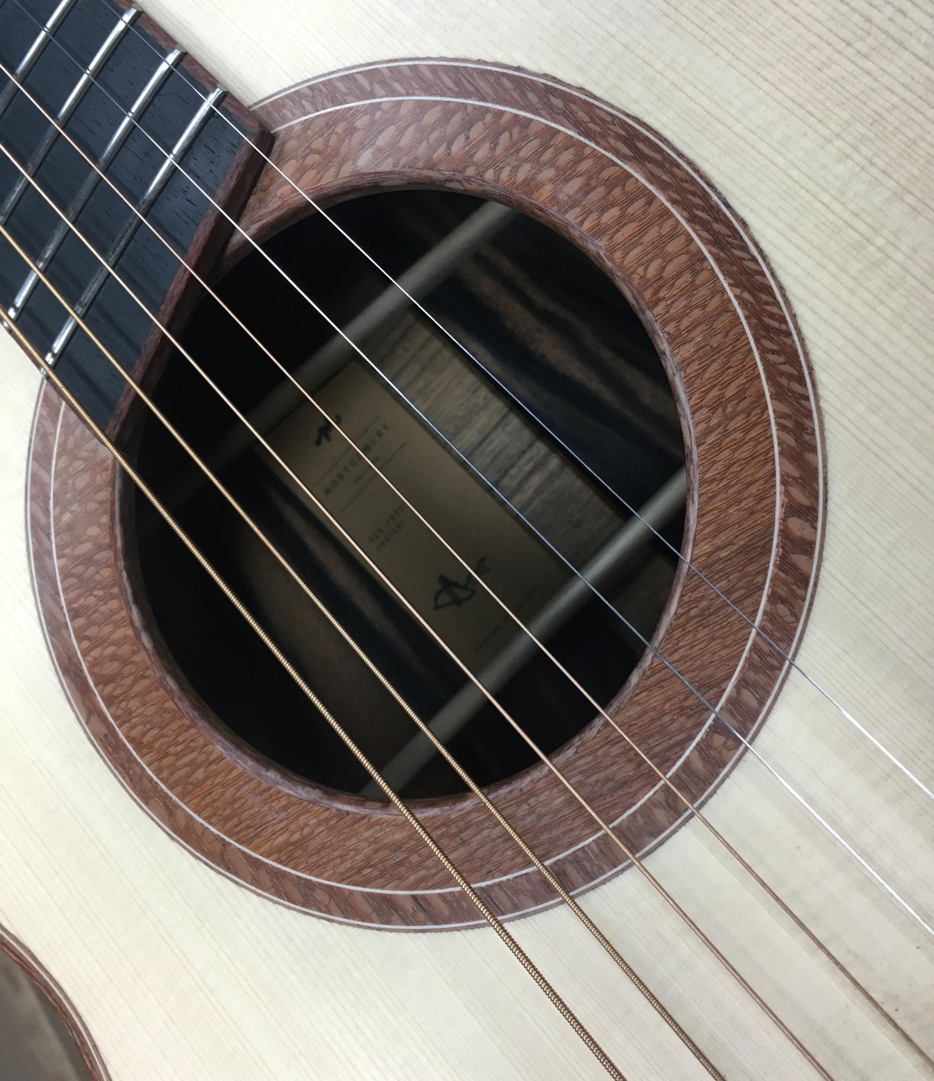 rosette, lacewood, acoustic guitar, montgomery guitar