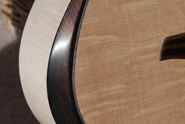 ebony, bevel, acoustic guitar, handmade, northern ireland, montgomery guitars