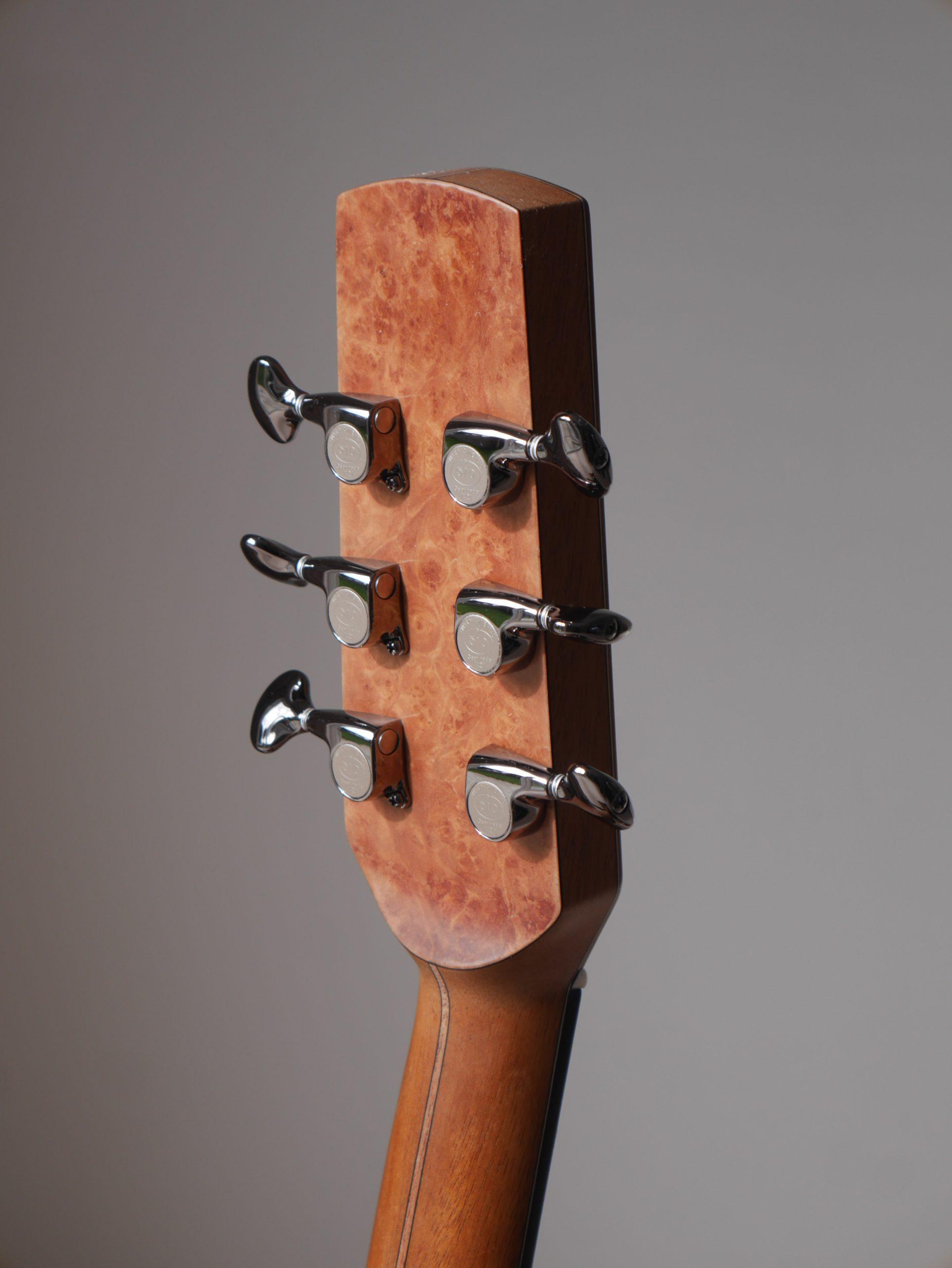 vavona burl, headstock, gotoh, gotoh 510, machinheads, tuners, montgomery, acoustic, luthier